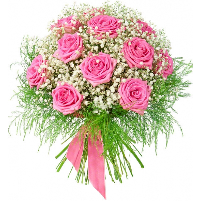 Букет цветов из розовых роз (экстра класс, 11 штук, 70 сантиметров), гипсофилы и декоративной зелени с доставкой.