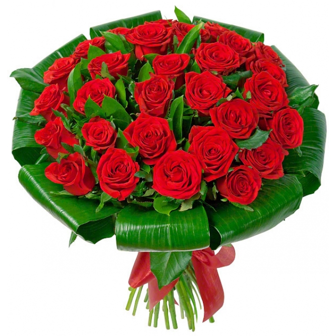 Букет цветов из красных роз (экстра класс, 31 штука) и декоративной зелени с доставкой по Киеву.