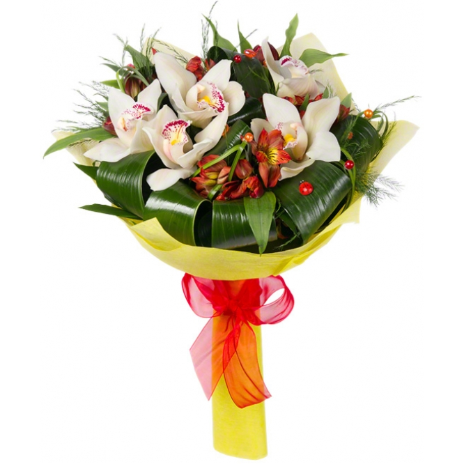 Букет цветов из белой орхидеи Цимбидиум (7 цветков), красной альстромерии (7 веток) и декоративной зелени с доставкой.