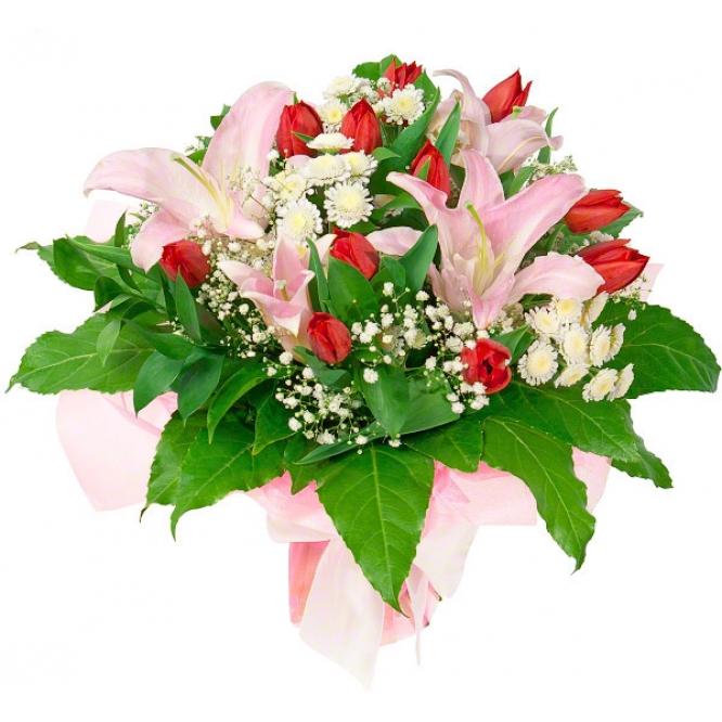 Букет цветов из розовой лилии, красных тюльпанов, белой хризантемы, гипсофилы и декоративной зелени с доставкой.