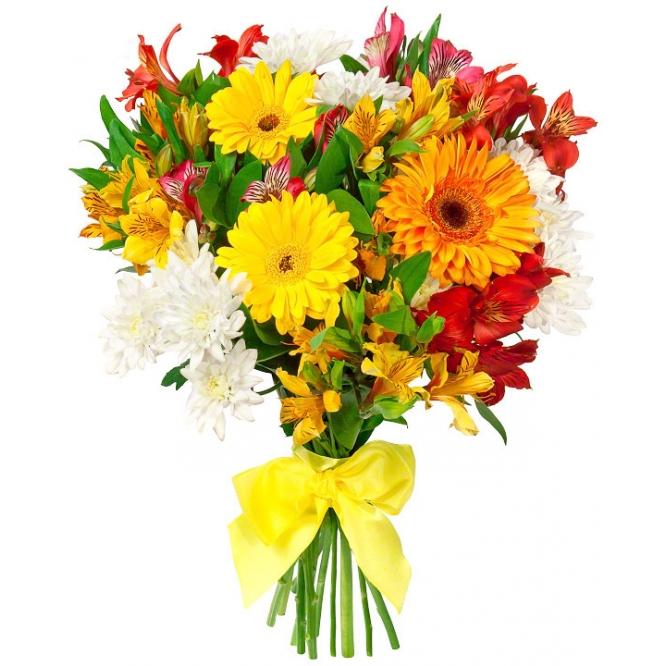 Букет цветов из красной и желтой альстромерии, желтой и оранжевой герберы, белой хризантемы и зелени с доставкой.