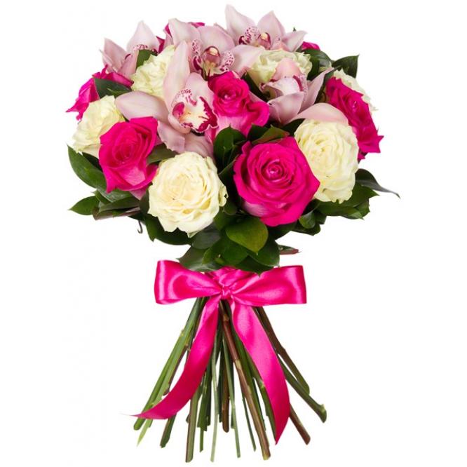 Букет цветов из розовой орхидеи Цимбидиум (экстра класс, 5 цветков) и белых и розовых роз (экстра класс, 16 штук) с доставкой.
