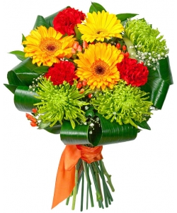 Букет цветов из желтой герберы, зеленой хризантемы, красной гвоздики, гиперикума и декоративной зелени с доставкой.