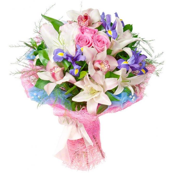 Букет цветов из розовых роз, синих ирисов, светло-розовой лилии, розовой орхидеи и декоративной зелени с доставкой.