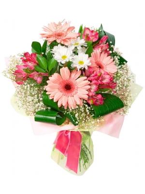 Букет цветов из розовой герберы, белой хризантемы, розовой альстромерии, гипсофилы и декоративной зелени с доставкой.
