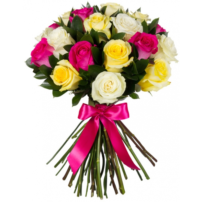 Букет цветов из розовых, желтых и белых роз (экстра класс, 21 штука, 70 сантиметров ) и декоративной зелени с доставкой.