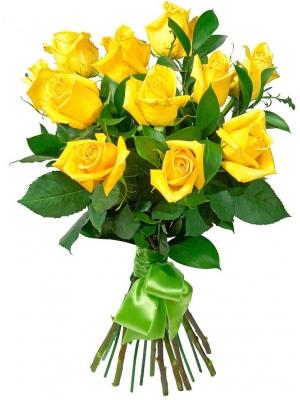 Букет цветов из желтых роз (экстра класс, 11 штук) и декоративной зелени с доставкой по Киеву.