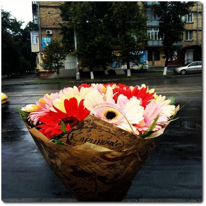 Нежный букет из 19 свежайших разноцветных гербер с доставкой по Киеву.