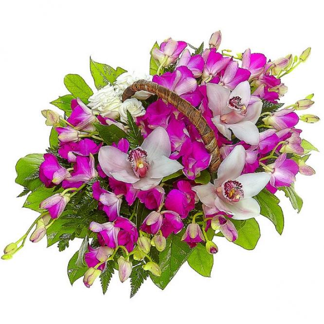 """Букет-корзина из розовой орхидеи """"Дендробиум"""", белого лизиантуса, папоротника и белой орхидеи №61"""
