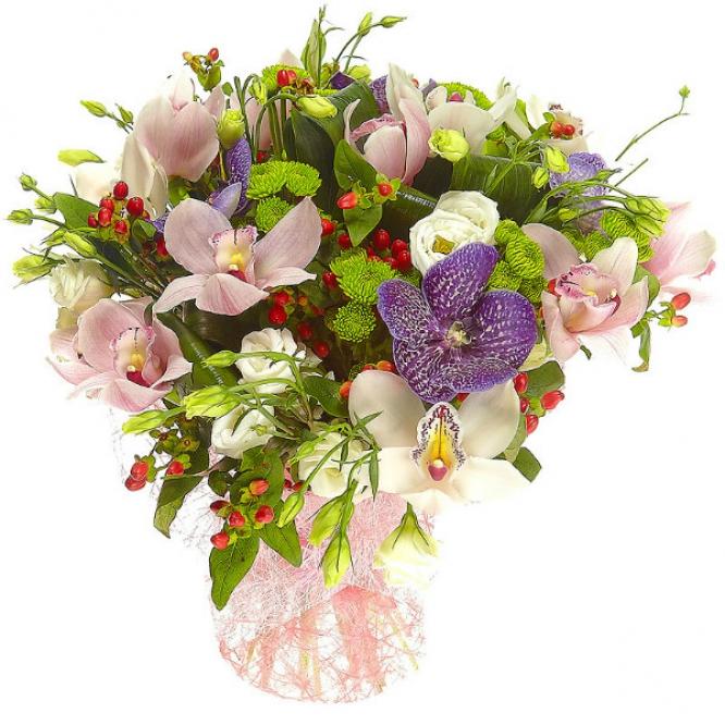 """Букет цветов из зеленой хризантемы, белой и розовой орхидеи, гиперикума и синей орхидеи """"Ванда"""" №9 с доставкой."""