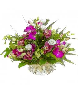 Букет цветов из розовой орхидеи, белого лизиантуса, амбреллы, салала и берграсса №10 с доставкой.