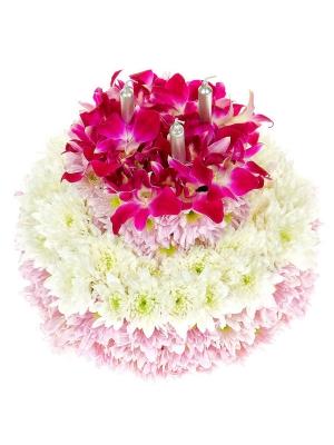 """Букет-композиция из розовой орхидеи """"Дендробиум"""", а также розовой и белой кустовой хризантемы №65"""