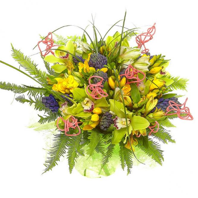 Букет цветов из белой и желтой альстромерии, зеленой орхидеи, синего гиацинта и желтой фрезии №13 с доставкой.