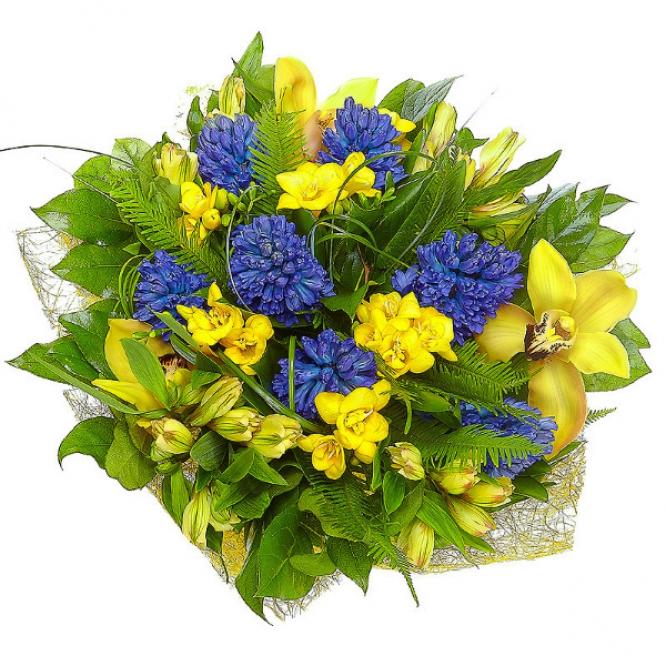 Букет цветов из желтых альстромерии, орхидеи и фрезии, а также амбреллы и синего гиацинта №1 с доставкой.