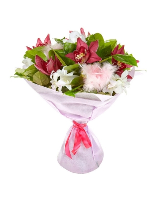 """Букет цветов из розовой орхидеи, салала и белой орхидеи """"Дендробиум"""" №14 с доставкой."""