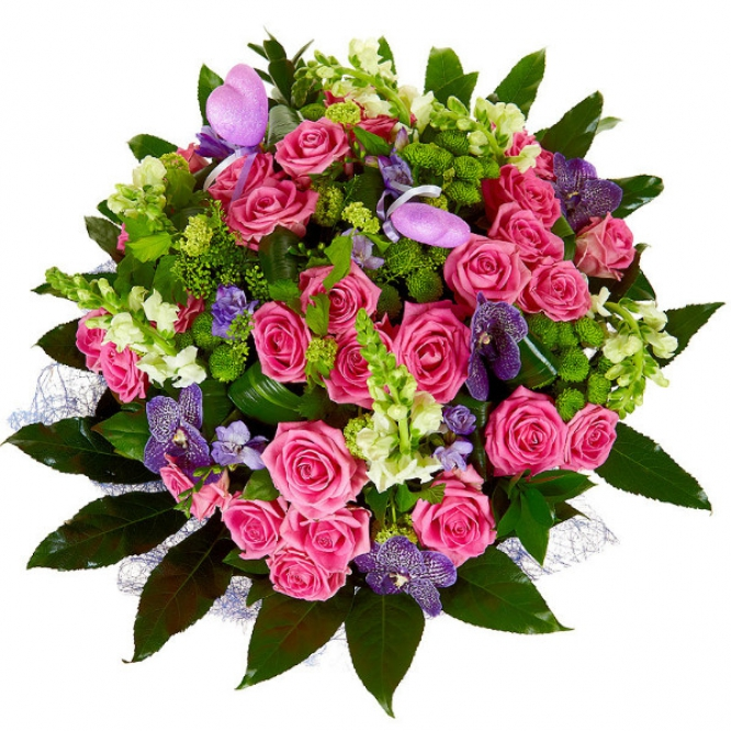 """Букет цветов из розовых роз, зеленой хризантемы, синей орхидеи """"Ванда"""", голубой фрезии и рускуса №19 с доставкой."""