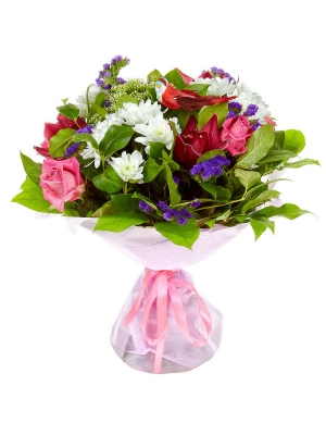 Букет цветов из розовых роз, белой хризантемы, салала, статицы и розовой орхидеи №17 с доставкой.