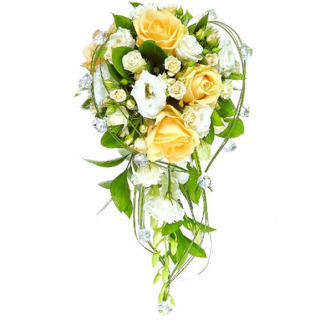 Свадебный букет невесты из кремовых роз, белого лизиантуса, рускуса, берграсса и белой орхидеи