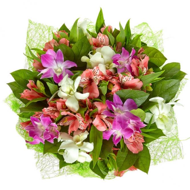 """Букет цветов из розовой и белой орхидеи """"Дендробиум"""", салала и розовой альстромерии №2 с доставкой."""