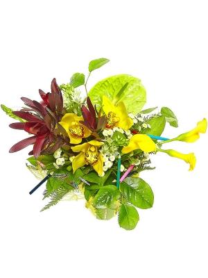 Букет цветов из желтой орхидеи, зеленого антуриума, красного леукодендрона, абреллы и желтой каллы №32 с доставкой.