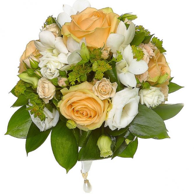 """Свадебный букет из орхидеи """"Дендробиум"""" кремовых роз, белого лизиантуса (эустома), рускуса и буплерумы №38"""