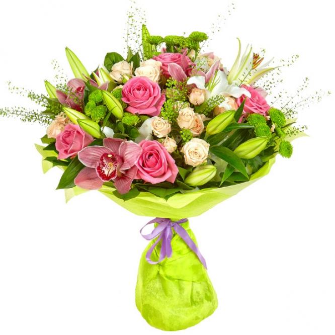Букет цветов из кремовых и розовых роз, зеленой хризантемы, белой лилии, а также розовой орхидеи №3 с доставкой.