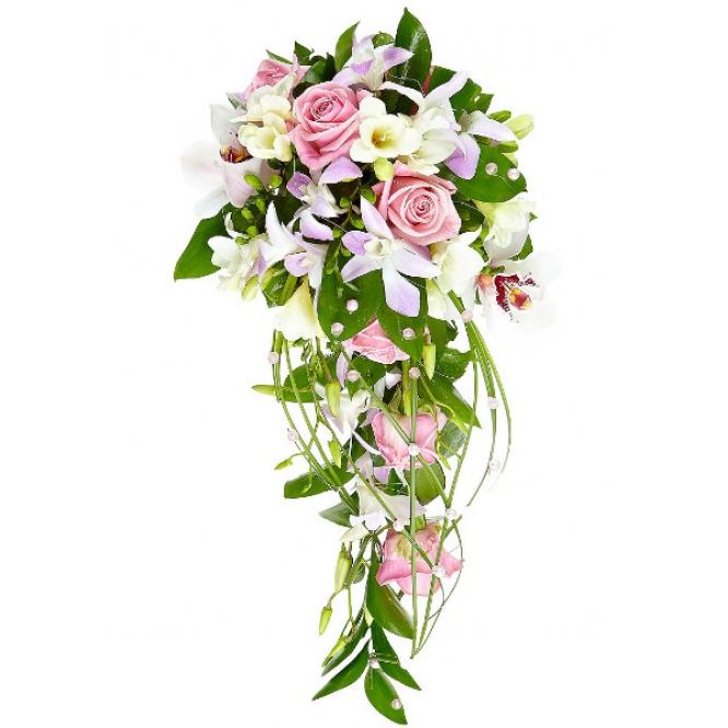 Свадебный букет невесты из белой фрезии, розовых роз, рускуса, берграсса, а также белой и розовой орхидеи №46