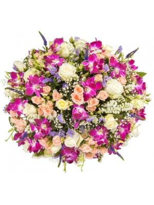 """Букет-корзина из розовой орхидеи """"Дендробиум"""", белых и розовых роз, салала, вероники и гипсофилы №95"""