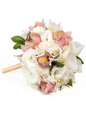 """Свадебный букет невесты из розовой орхидеи """"Цимбидиум"""", рускуса и белой эустомы №12"""