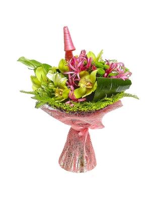 Букет цветов из белой альстромерии, зеленой хризантемы, нерине, амбреллы и зеленой орхидеи №6 с доставкой.
