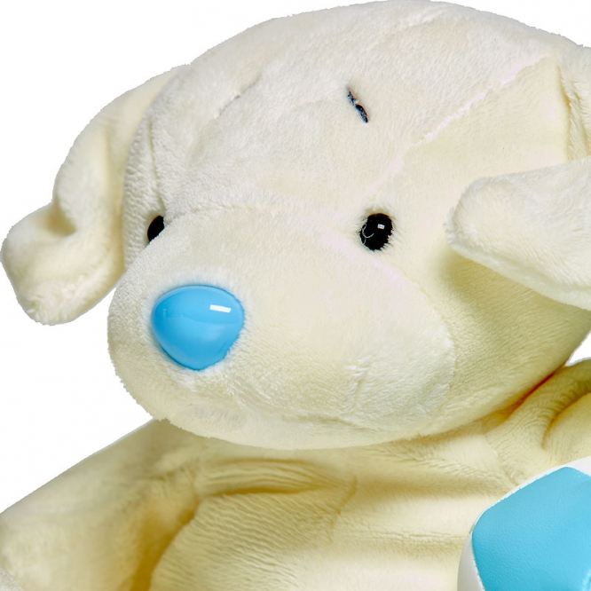 Плюшевый белый песик из мячиком (25 см.).