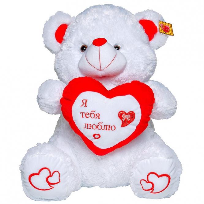 """Плюшевый мишка из сердцем """"Я тебя люблю"""" (65 см.)."""