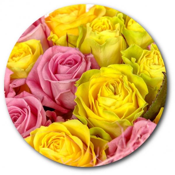 Поштучно желтые и розовые розы с доставкой №27