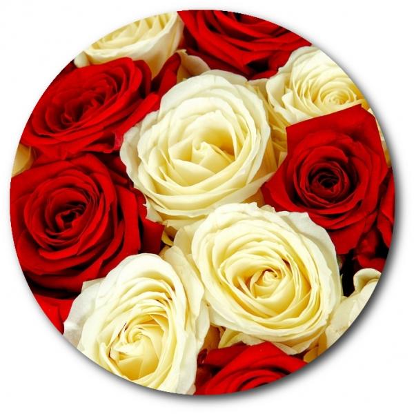 Поштучно красная и белая роза с доставкой №6
