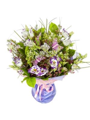 Букет цветов цветов из бело-голубого лизиантуса, берграсса, салала, вакс и белой сирени №15 с доставкой.