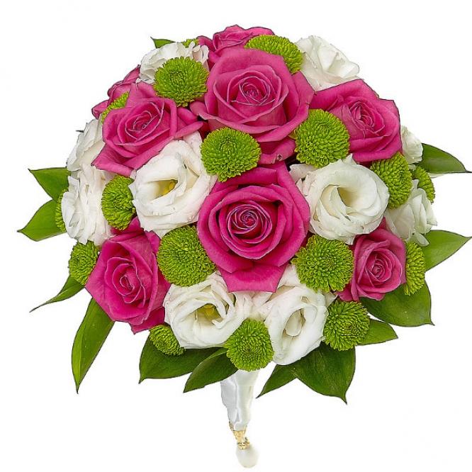 Свадебный букет невесты из зеленой хризантемы, белого лизиантуса, рускуса и розовых роз №17