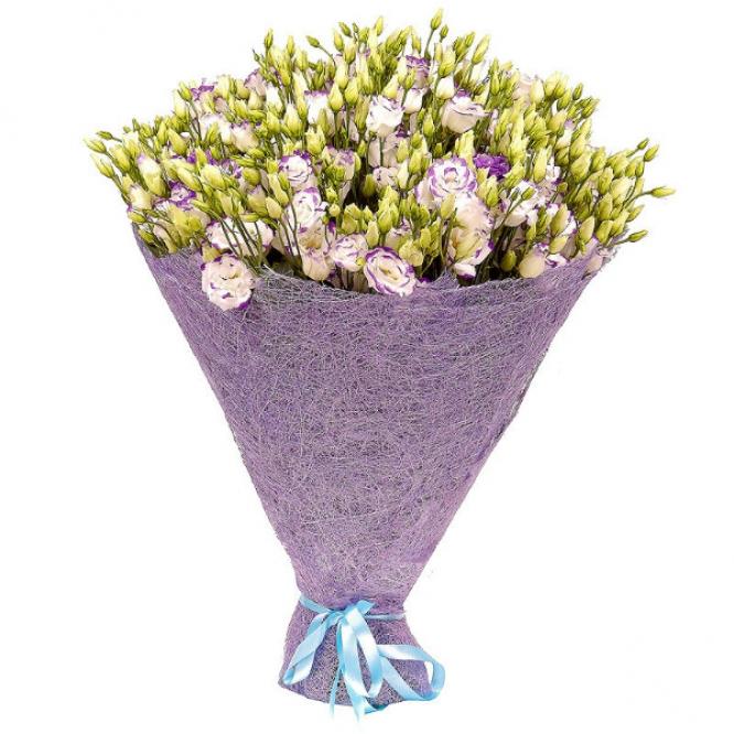 Букет цветов из бело-синего лизиантуса (эустома) (101 шт.) №18 с доставкой.
