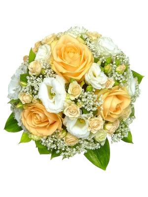 Свадебный букет невесты из кремовых роз, рускуса, гипсофилы и белого лизиантуса №20