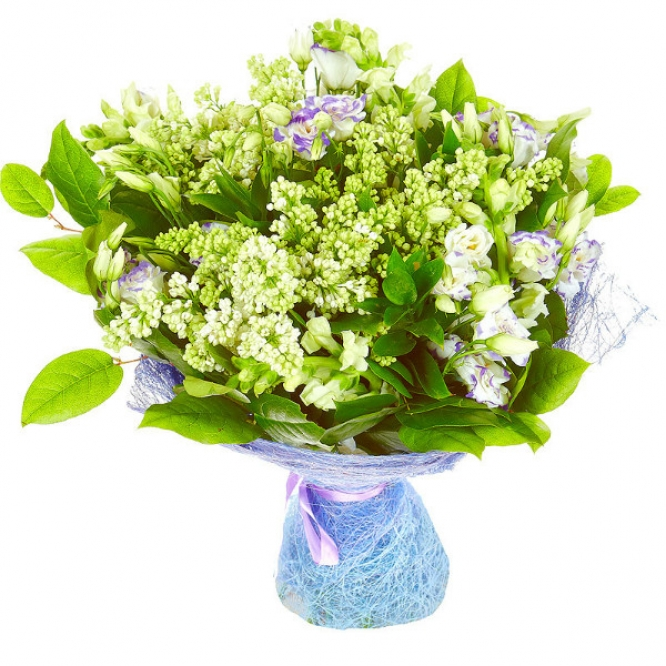 Букет цветов из голубого лизиантуса, антирринумы, салала, рускуса и белой сирени №22 с доставкой.
