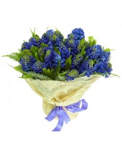 Букет цветов из синего гиацинта (25 шт.) и амбреллы №30 с доставкой.
