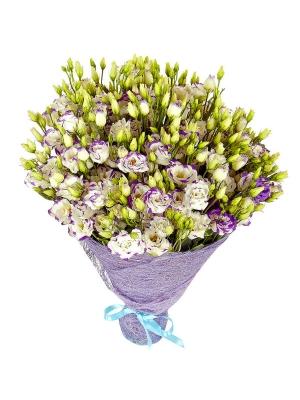 Букет цветов из бело-синего лизиантуса (эустома) (51 шт.) №9 с доставкой.