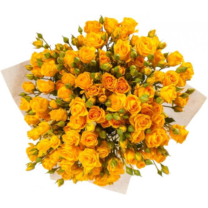 """Букет цветов из желтых кустовых роз """"Еллоу"""" (15 шт.) №46 с доставкой."""
