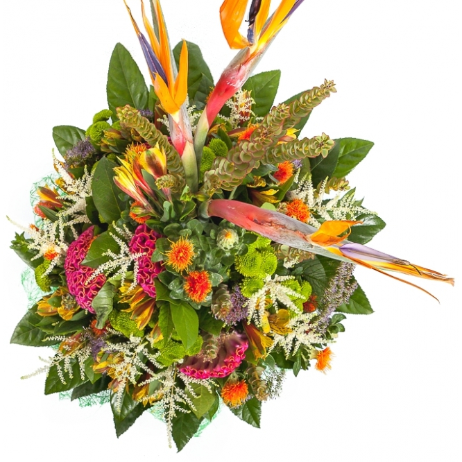 Букет цветов из зеленой хризантемы, желтой альстромерии, стрелиции, целозии и картамуса №49 с доставкой.