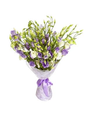 Букет цветов из белого и синего лизиантуса (эустома) (17 шт.) №11 с доставкой.
