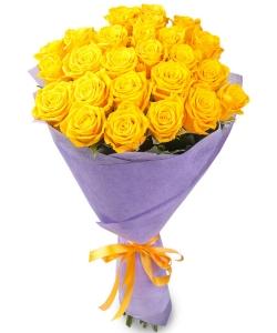 Букет цветов из желтых роз №1 (25 шт.) с доставкой.