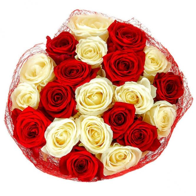 Букет цветов из белых и красных роз №12 (21 шт.) с доставкой.