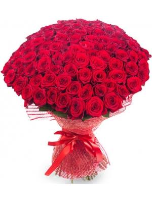 Букет цветов из красных роз №5 (101 шт.) с доставкой.