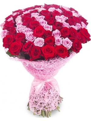Букет цветов из красных и розовых роз №6 (101 шт.) с доставкой.