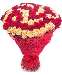 Букет цветов из красных и кремовых роз №6 (101 шт.) с доставкой.