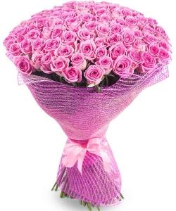 Букет цветов из розовых роз №7 (101 шт.) с доставкой.
